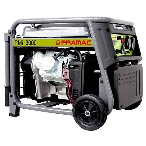Generador Pramac PMi3000 inverter, gasolina, potencia LTP 3000 W, arranque manual, kit de ruedas incluido