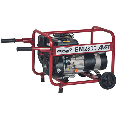 Generador Pramac Powermate EM2800, gasolina, potencia LTP 2800 W, AVR, arranque manual, kit de ruedas incluido