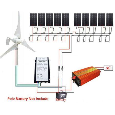 Générateur de turbine de vent de système de vent de 1.4KW 400W et panneau solaire 10x 100W OFF GRID