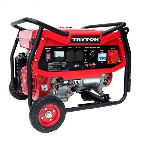 Générateur d'essence 5000W, AVR, 2x230V, 1x400v, 12v, roues
