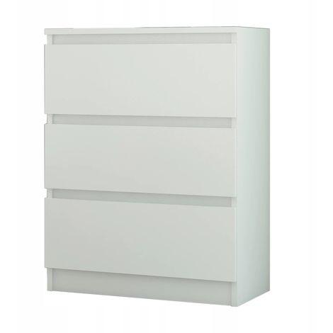 Geneva Commode Contemporaine Chambre Salon Bureau 70x40x76 3 Tiroirs Meuble De Rangement Scandinave Chiffonier Moderne Blanc
