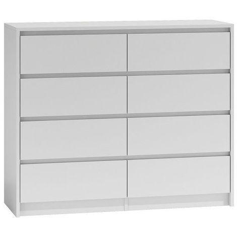 GENOA 120 | Commode contemporaine chambre/salon/bureau 40x120x97 | 8 tiroirs coullissants | Meuble moderne rangement Chiffonier | blanc