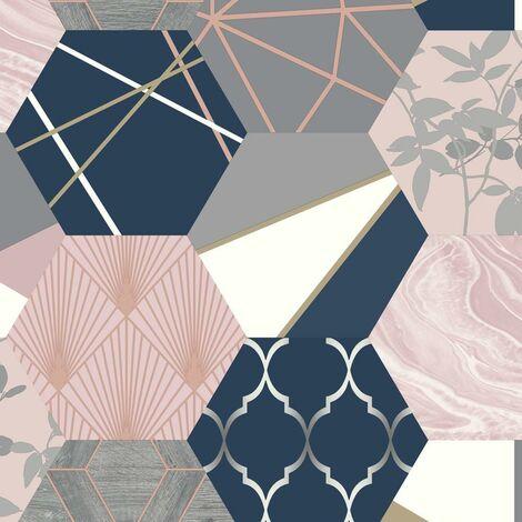 Geo Hexagon Patchwork Wallpaper Pink Blush Navy Gold Metallic Matt Finish