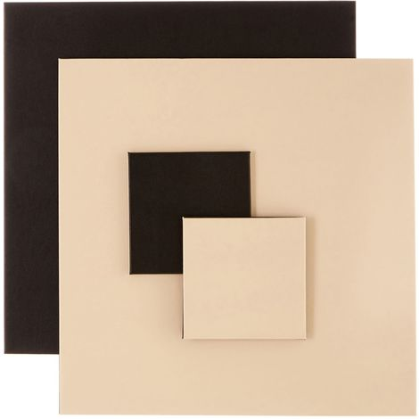 Geome Reverse Set, Set of 4 / Leather Effect, Coasters & Placemats / Black & Cream