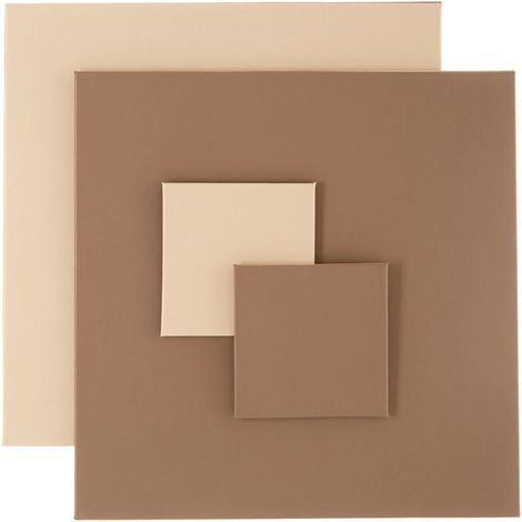 Geome Reverse Set, Set of 4 / Leather Effect, Coasters & Placements / Taupe & Cream