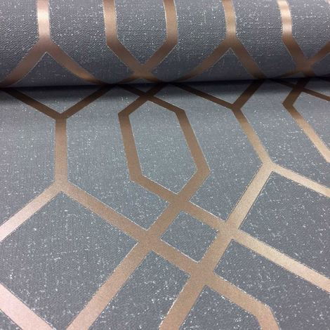 Geometric 3D Effect Wallpaper Trellis Textured Vinyl Charcoal Metallic Copper