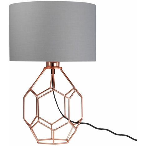 Geometric 42cm Bedside Light Table Lamps Copper with Grey or White Shade