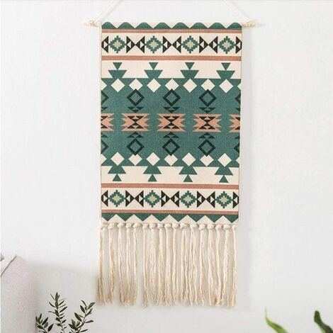 Geometric Bohemian Wall Tapestry Green Beige Indian Wall Hanging Linen Wall Decor for Living Room Bedroom Hand Weaving Ethnic Tassel Wall Towel 50 x 70cm + 28cm