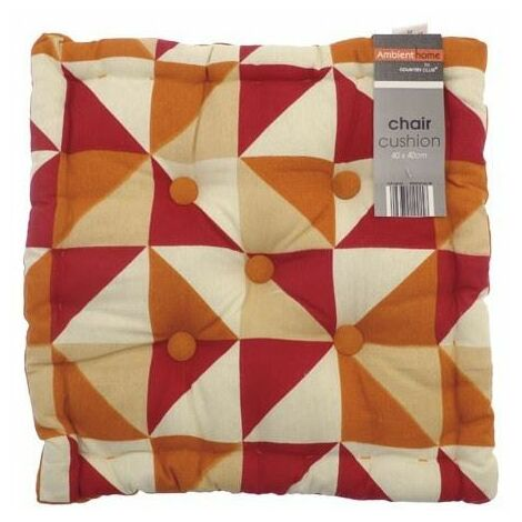 Geometric Box Chair Filled Cushion Outdoor Garden Furniture Seat Pad Orange Red Triangles