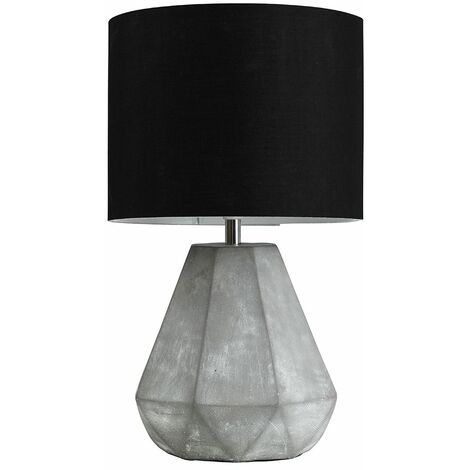 Geometric Cement Table Lamp + Black Shade 4W LED Bulb Warm White