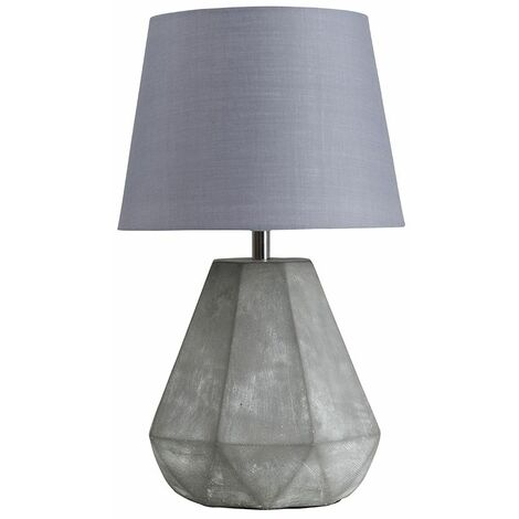 Geometric Cement Table Lamp + Grey Shade 4W LED Bulb Warm White