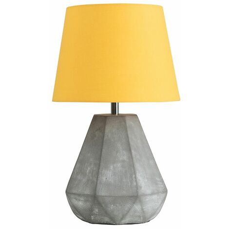 Geometric Cement Table Lamp + Mustard Shade 4W LED Bulb Warm White