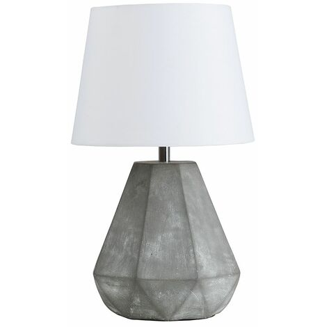 Geometric Cement Table Lamp + White Shade 4W LED Bulb Warm White