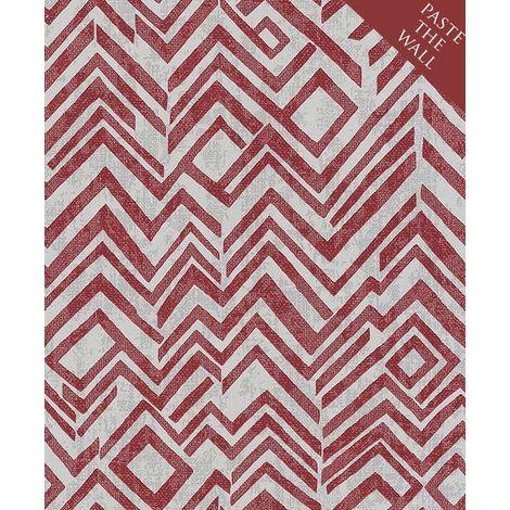 Geometric Chevron Zig Zag Wallpaper Red White Paste The Wall Vinyl Erismann
