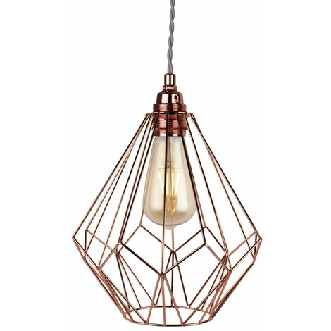 Geometric Copper Wire Easy Fit Hanging Ceiling Light Pendant Chandelier Shade