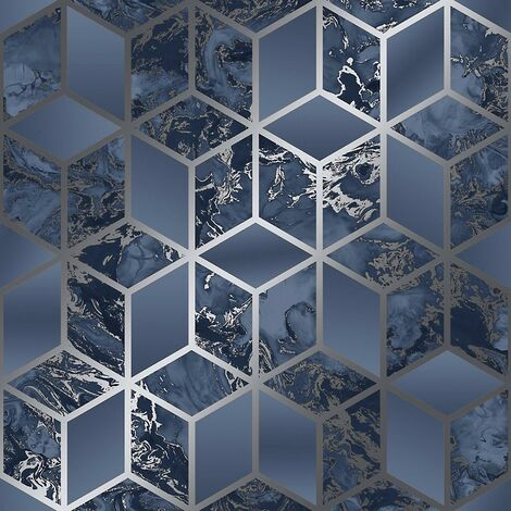 Geometric Cube Liquid Marble Navy Silver Wallpaper Elixir Muriva Metallic Modern