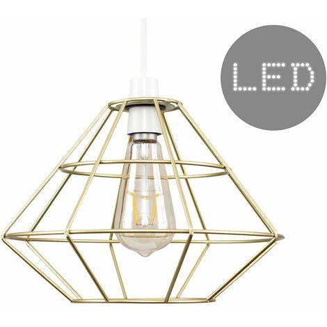Geometric Diamond Metal Basket Cage Ceiling Pendant Light Shade + 4W LED Filament Bulb