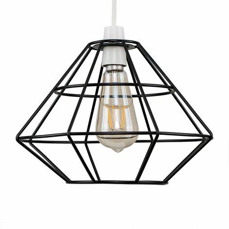 Geometric Diamond Metal Basket Cage Ceiling Pendant Light Shade - Black - Black