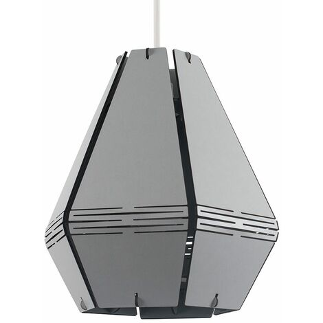 Geometric Light Shade Grey Cut Out Ceiling Pendant Easy Fit