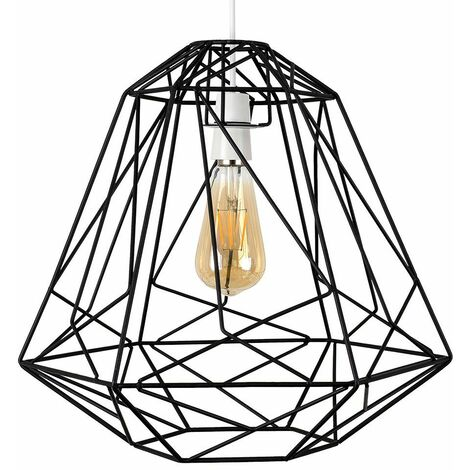 Geometric Metal Basket Cage Ceiling Pendant Light Shade + 4W LED Filament Bulb