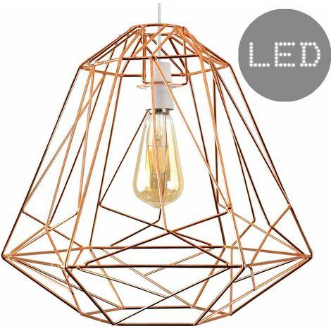 Geometric Metal Basket Cage Ceiling Pendant Light Shade + 4W LED Filament Bulb