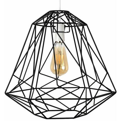 Geometric Metal Basket Cage Ceiling Pendant Light Shade + 4W LED Filament Bulb - Copper - Copper