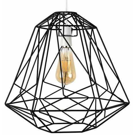 Geometric Metal Basket Cage Ceiling Pendant Light Shade - Black