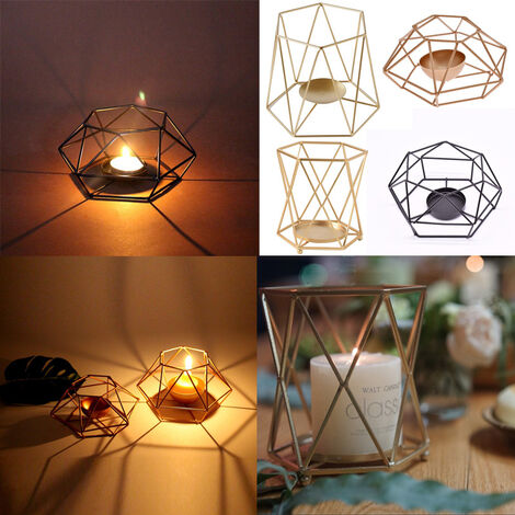Geometric Metal Wire Candlestick Tealight Candle Holder Tabletop Aritist Craft