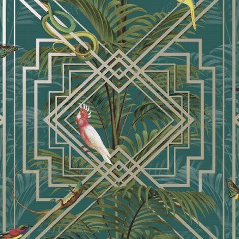 Geometric Nature Teal Metallic Art Deco Abstract Wallpaper Floral
