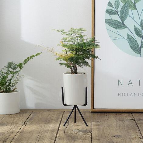 Geometric Plant Stand Iron and Ceramic Indoor Flower Pot Rack Set Garden Decor S/M/L