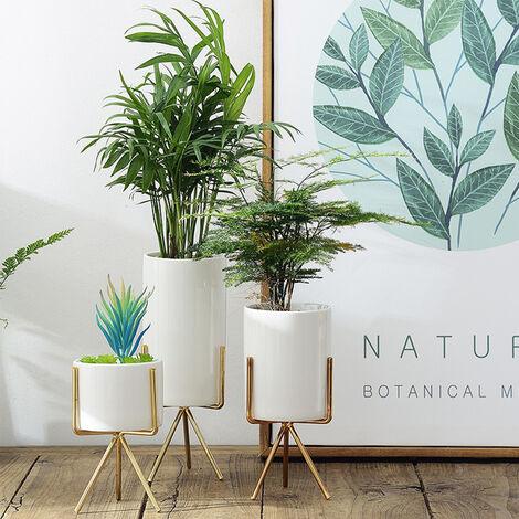 "main image of ""Geometric Plant Stand Metal and Ceramic Indoor Flower Pot Rack Set Garden Decor"""