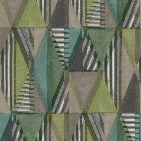 Geometric Retro Wallpaper Grandeco Grey Teal Green Textured Vinyl