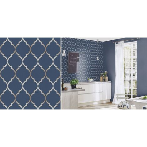 Geometric Shaped Wallpaper Blue Retro Metallic Silver Textured Vinyl Rasch