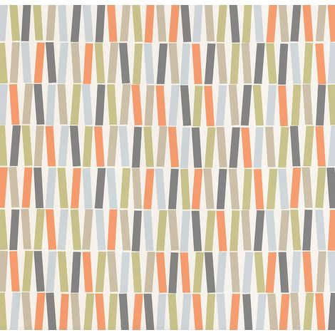 Geometric Sticks Lines Stripes Wallpaper Retro Orange Blue White Green Vinyl P+S
