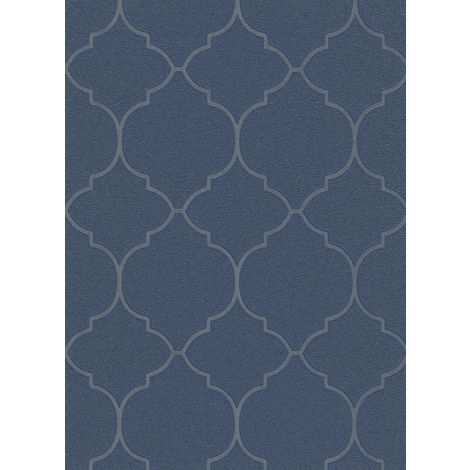 Geometric Trellis Glitter Wallpaper Navy Blue Shimmer Blown Vinyl Erismann