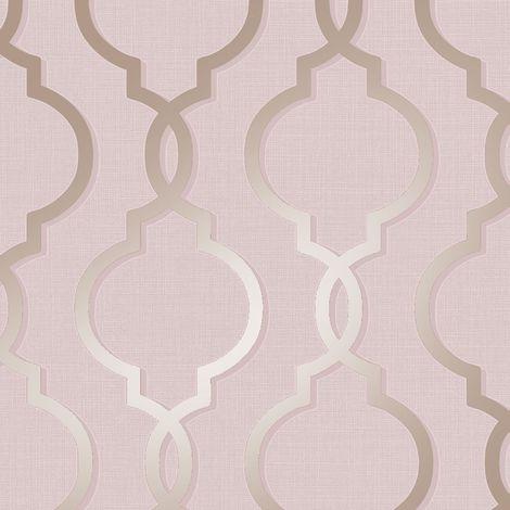Geometric Trellis Pattern Wallpaper Baroque Pink Gold Metallic Glitter Retro