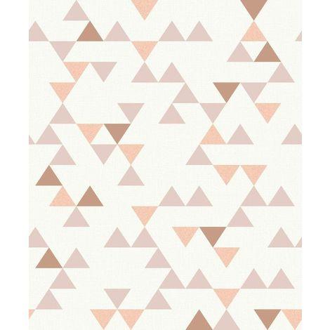 Geometric Triangles Wallpaper Retro Beige Copper Peach Metallic Vinyl Paste Wall