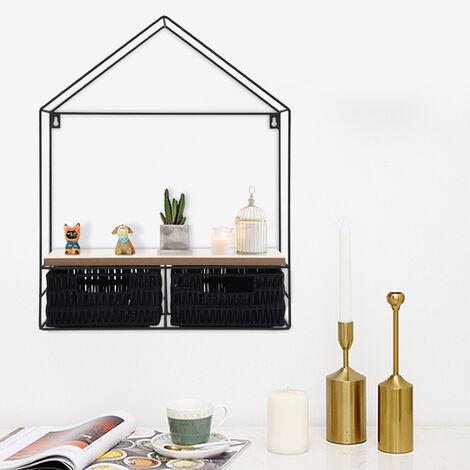 Geometric Wall Shelves Metal & Wood Floating Shelf Display Rack Backdrop Decors