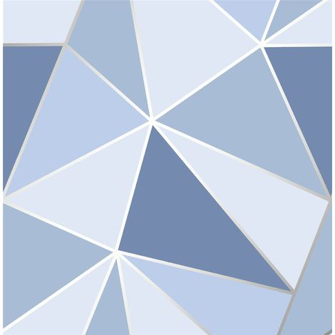 Geometric Wallpaper 3D Apex Triangle Modern Futuristic Blue Fine Decor