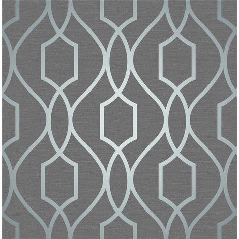 Geometric Wallpaper Metallic Shiny Blue Slate Apex 3D Modern Fine Decor