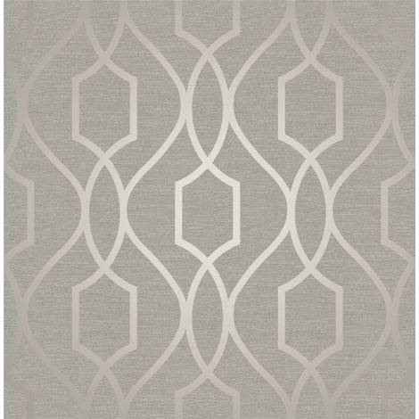 Geometric Wallpaper Metallic Shiny Grey Taupe Apex 3D Modern Fine Decor