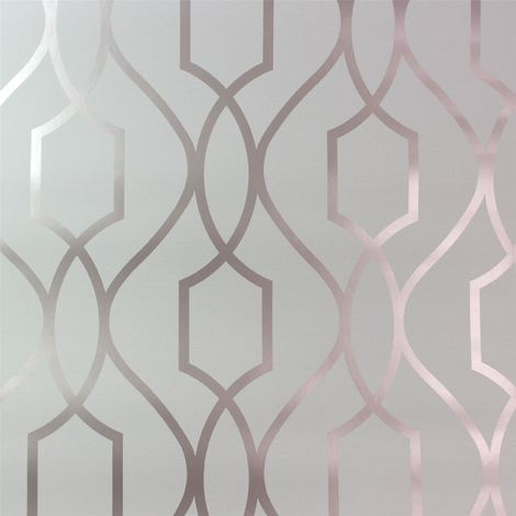 Geometric Wallpaper Metallic Shiny Rose Gold Stone Apex 3D Modern Fine Decor