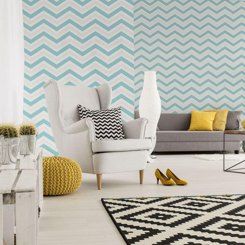 Image of Geometric Wallpaper Modern Glitter Sparkle Chevron Teal Silver White