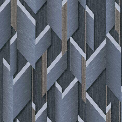 Geometric Wallpaper Navy Gold Textured Glitter Erismann Paste The Wall Vinyl