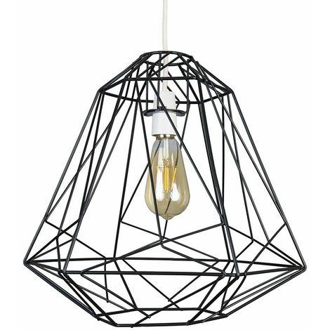 Geometric Wire Frame Ceiling Pendant Light Shade - Black