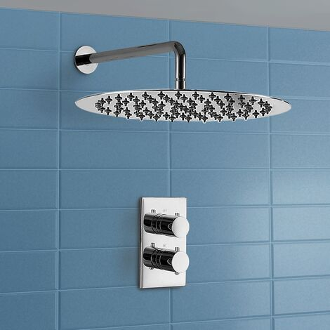 George Waterfall Round Thermostatic Control Chrome Shower