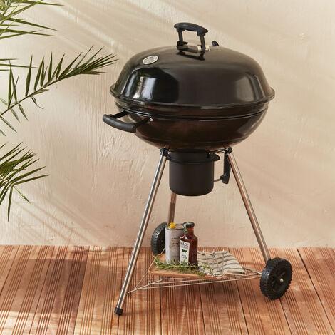 Georges Ø56.5cm BBQ - Charcoal black barbecue with ash collector, chrome grill, lid, storage, shelve