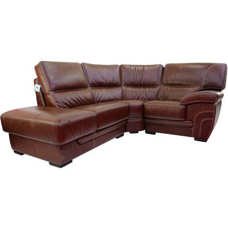 Georgia 1 + Corner + 1 Genuine Italian Tabak Brown Leather Corner Sofa Group Suite Offer