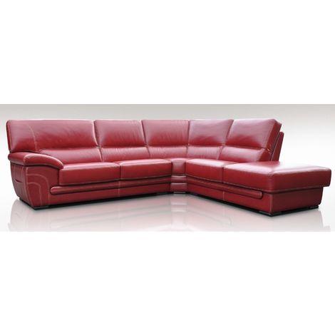 Georgia 3 + Corner + 1 Genuine Italian Red Leather Corner Sofa Group Suite Offer