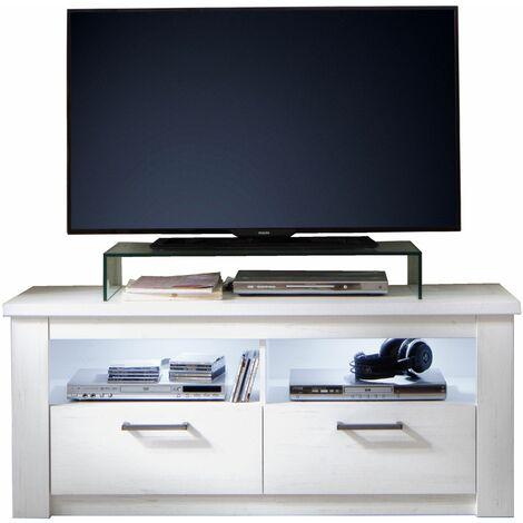 Georgia - Meuble salon/séjour mélaminé. Meuble TV. L - H - P : 139 - 58 - 48 cm - Blanc